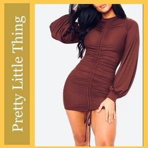 NWT Pretty Little Thing Ribbed Ruched Mini Dress